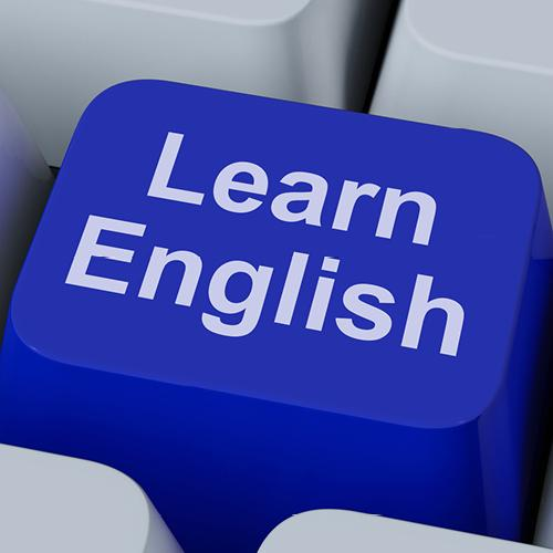 Learn English language online concept, mobile phone, flag of UK