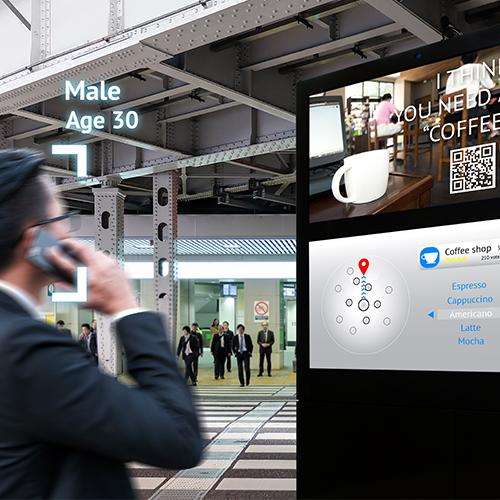 intelligent digital signage augmented reality marketing and face