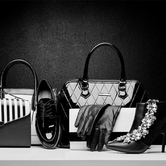 Sexy and fashionable set of glamour black and white accessories for man and woman